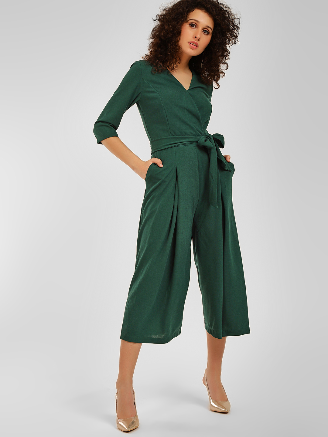 Origami Lily Green Front Tie-Up Jumpsuit 1