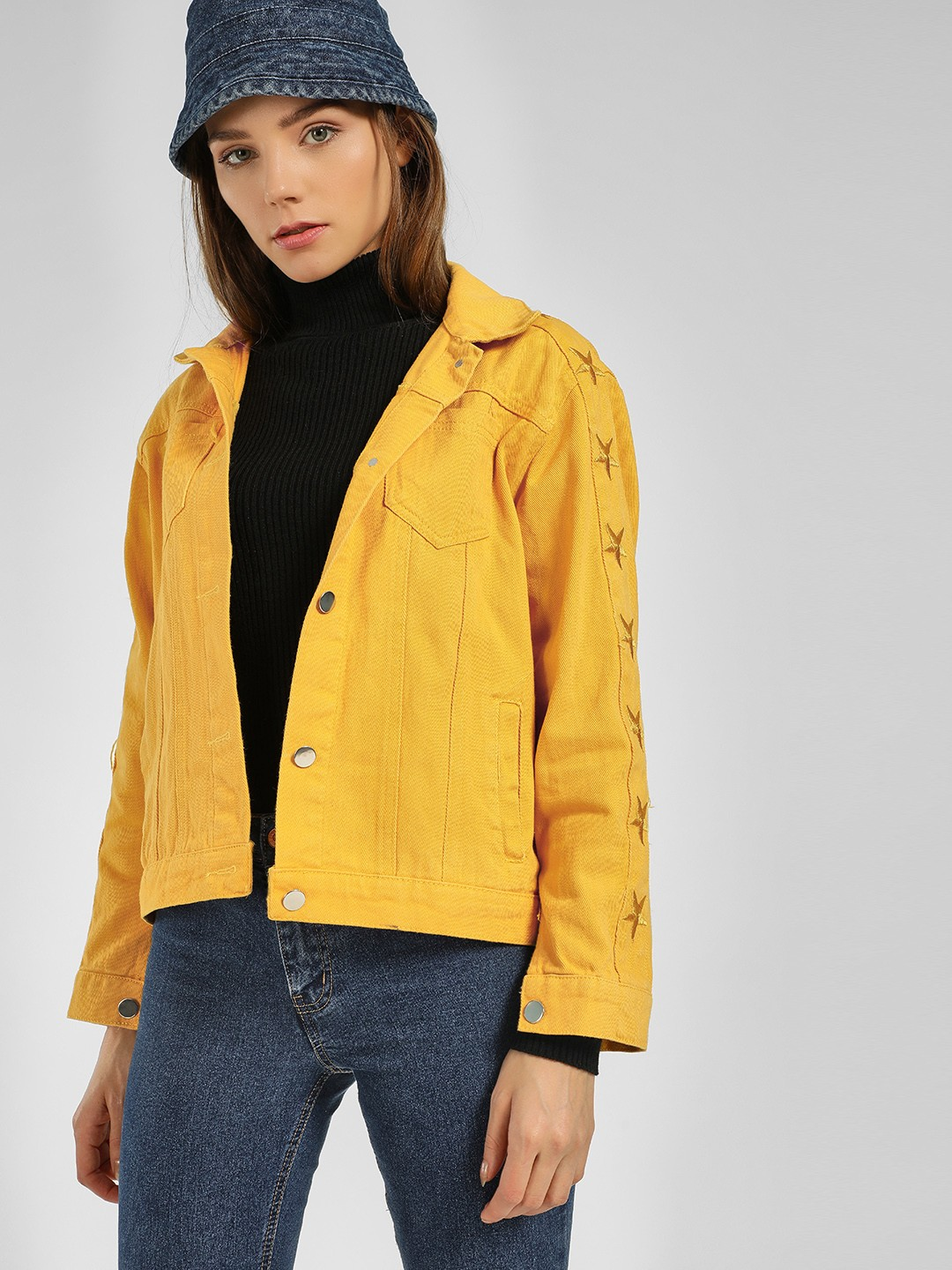Origami Lily Yellow Star Embroidered Denim Jacket 1