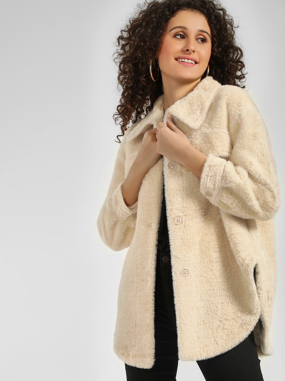 Origami Lily Off White Faux Shearling Jacket 1