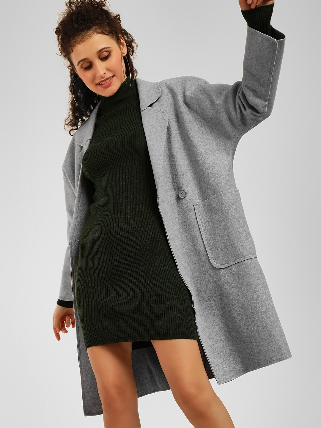 Origami Lily Grey Oversized Longline Duster Coat 1