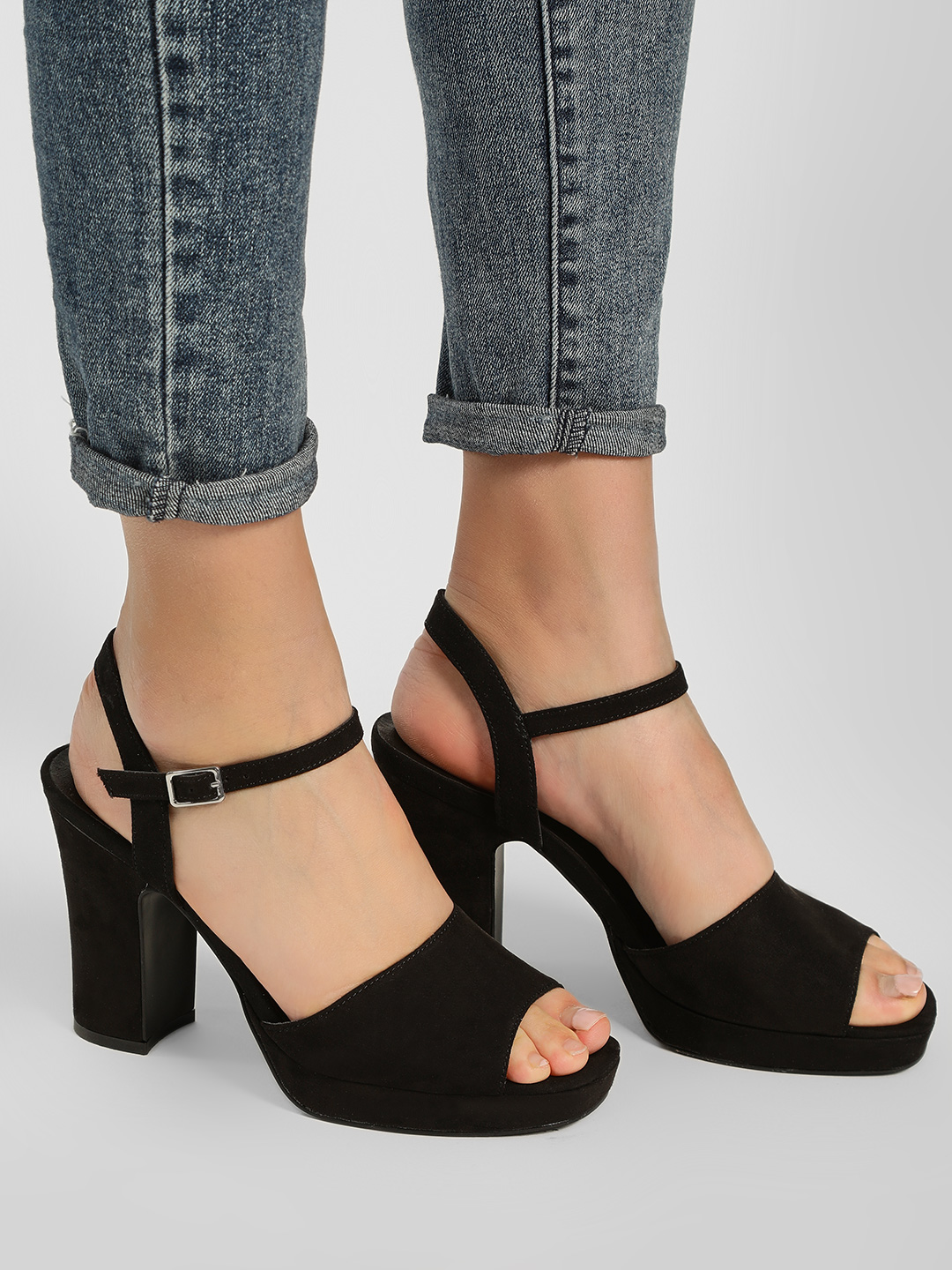 New Look Black Suede Finish Block Strappy Heels 1