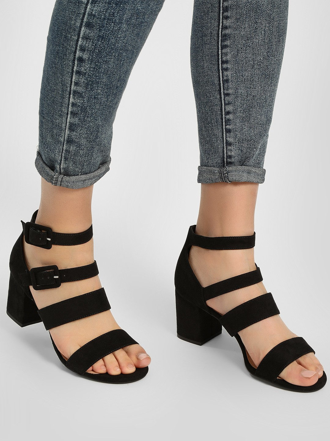 New Look Black Suede Finish Heeled Sandals 1