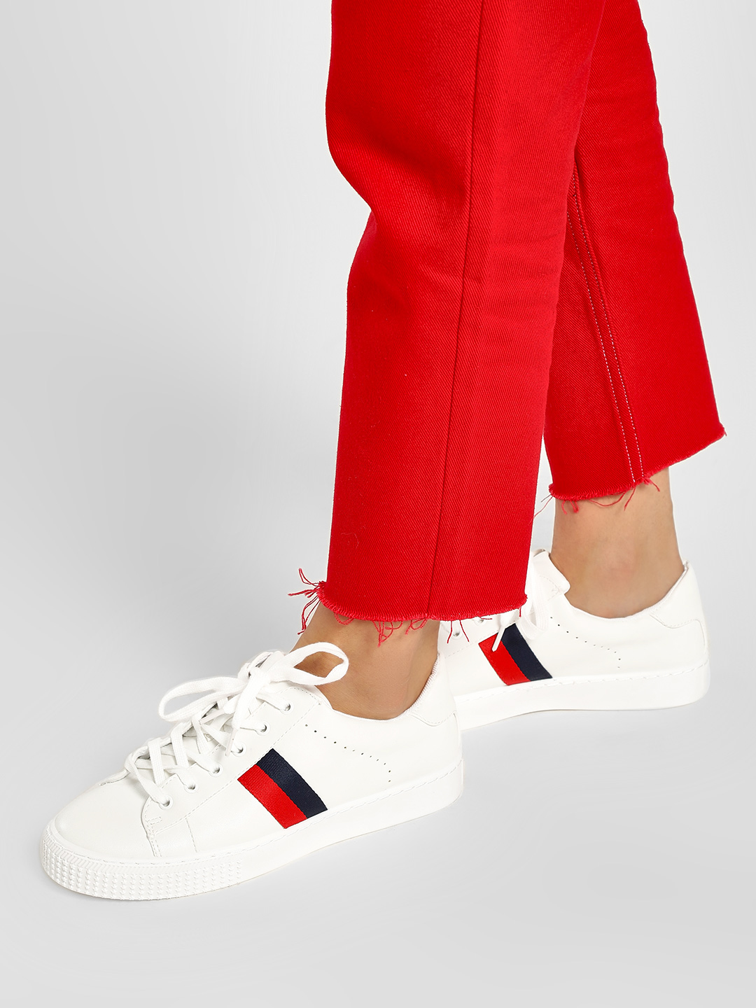 New Look White Contrast Panel Perforated Trainers 1