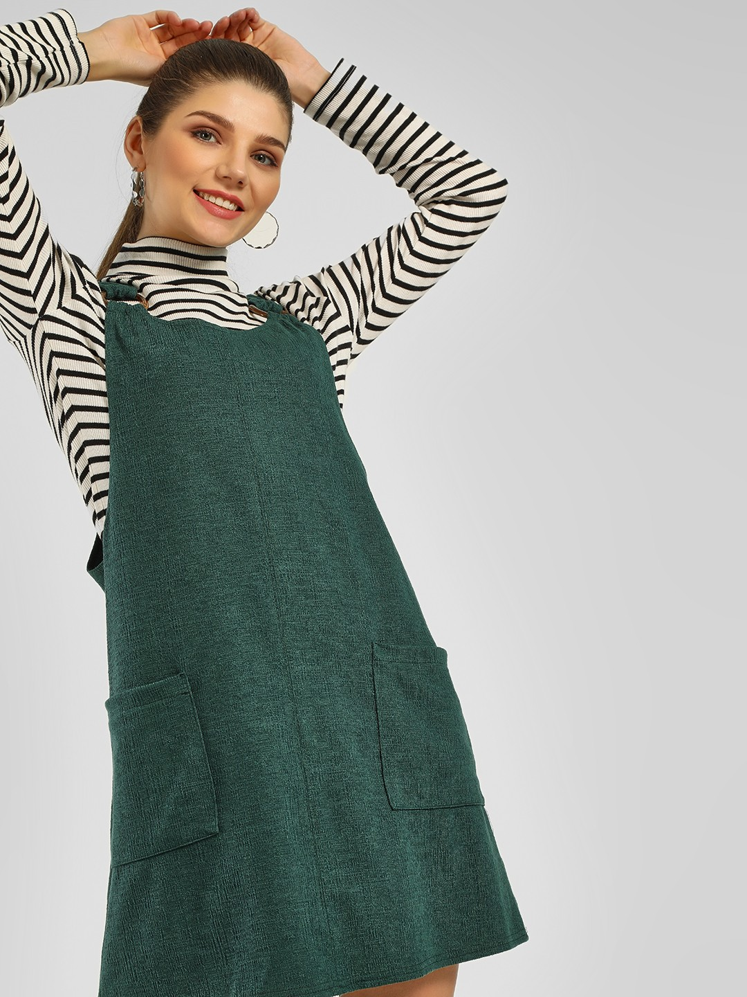 New Look Dark Green Twin Pocket Pinafore Dress 1