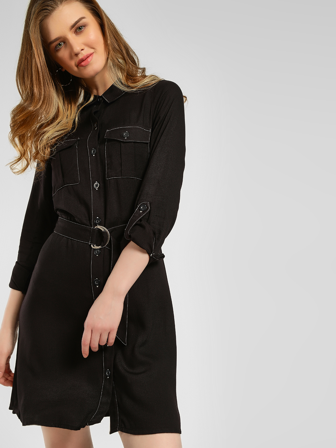 New Look Black Rolled-Up Sleeve Shirt Dress 1