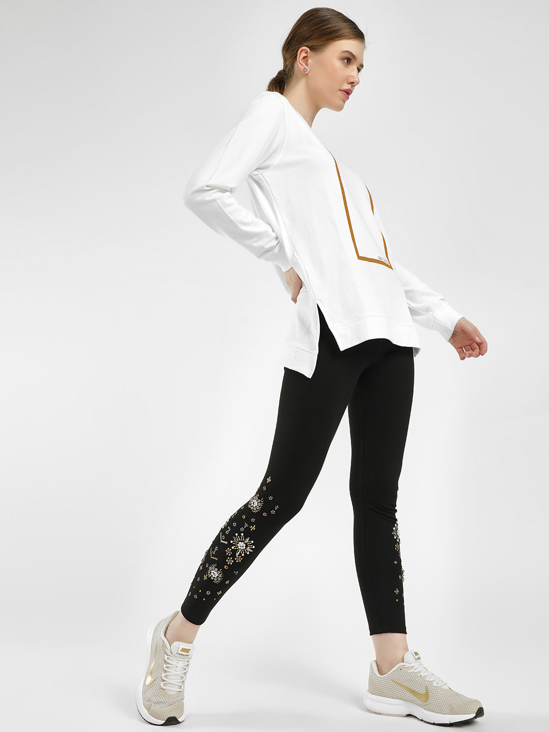 KOOVS Black Bead & Gem Embellished Leggings 1