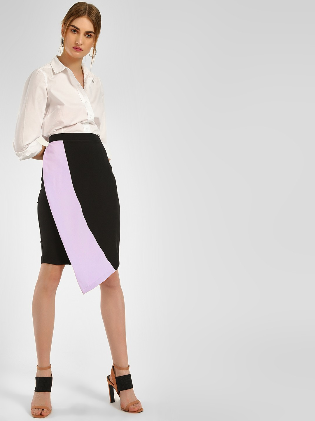 KOOVS Multi Colour Block Asymmetric Pencil Skirt 1