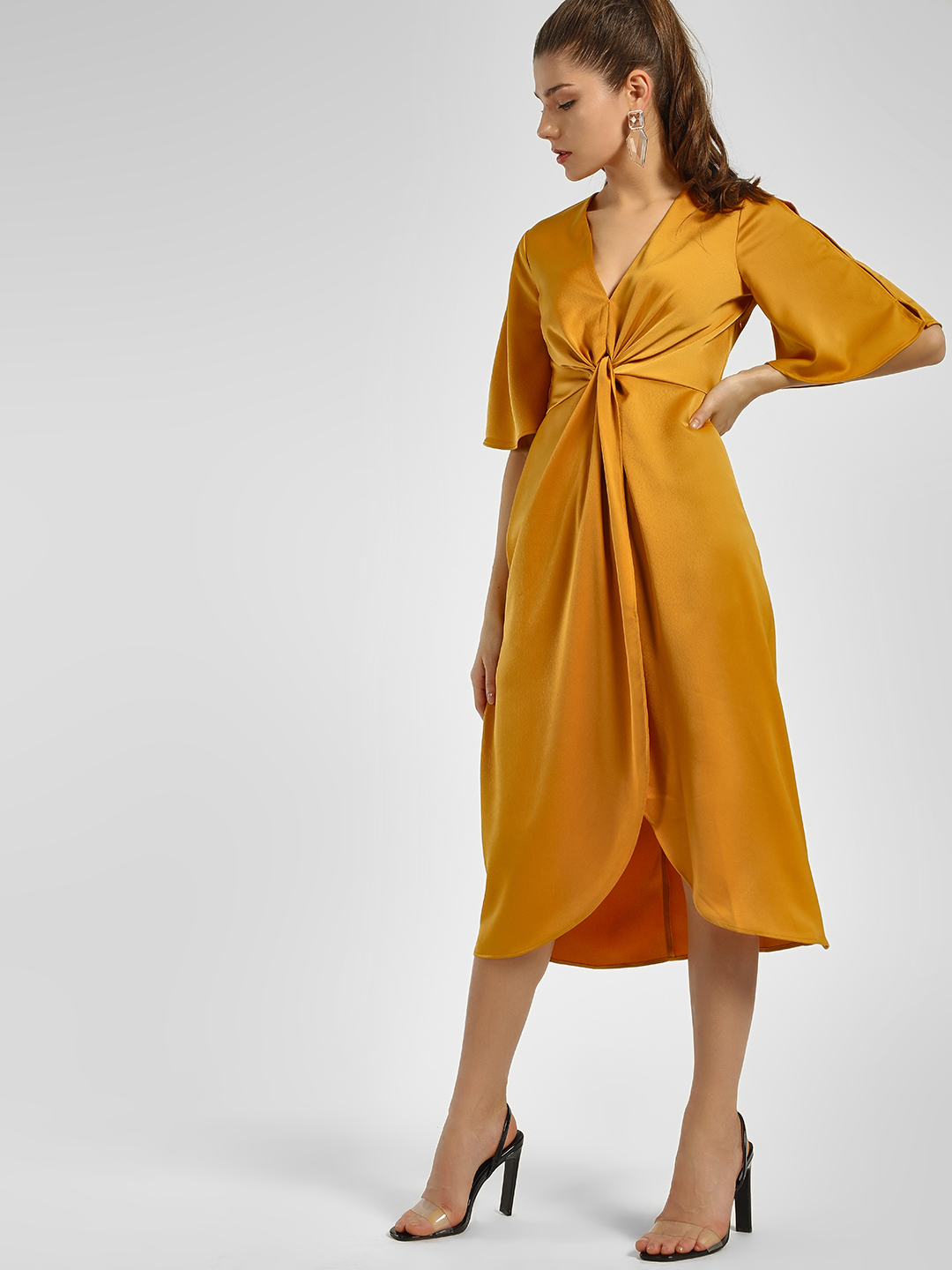 KOOVS Yellow Twist Knot Midi Dress 1