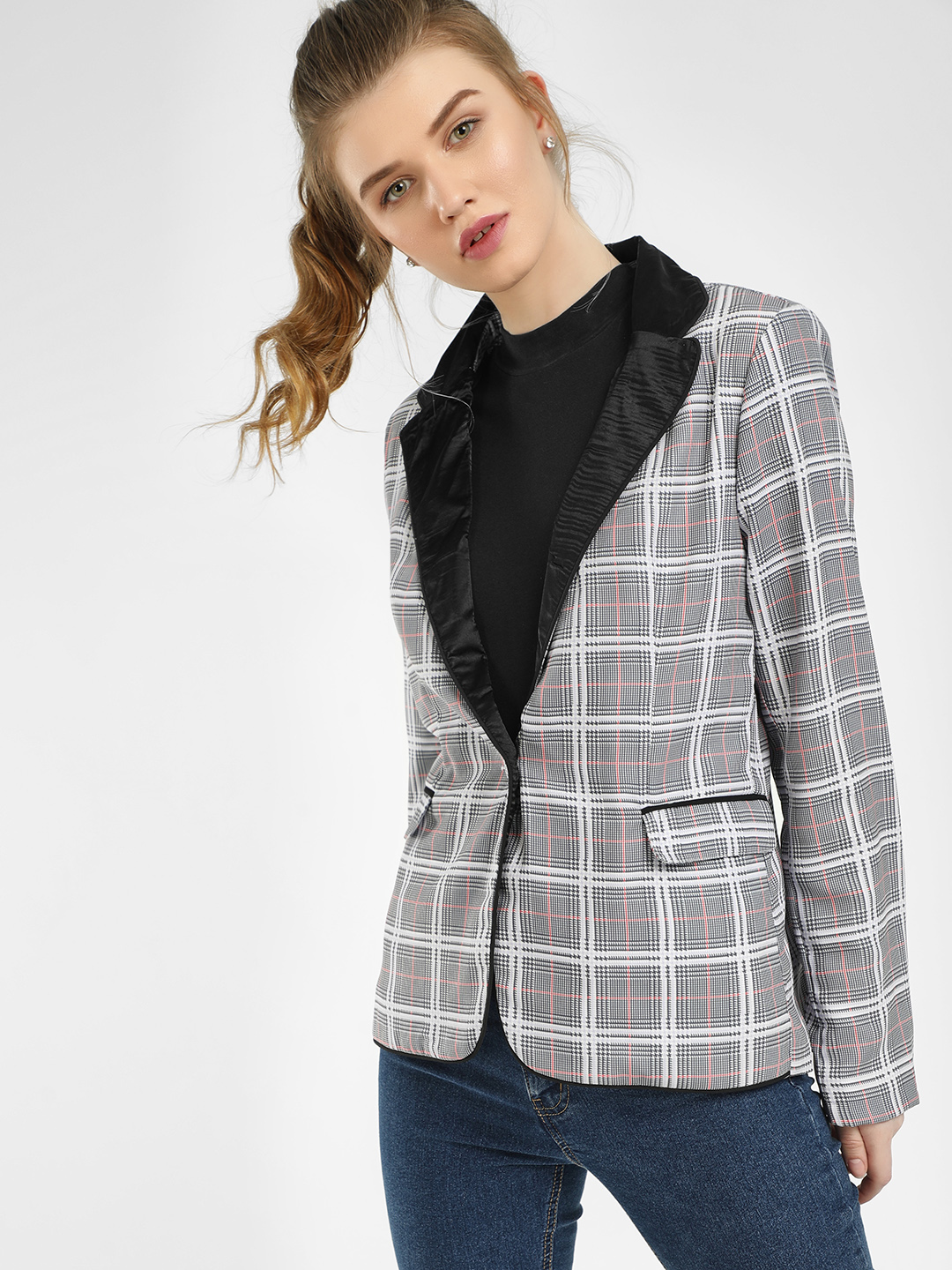 KOOVS Multi Contrast Collar Checked Blazer 1