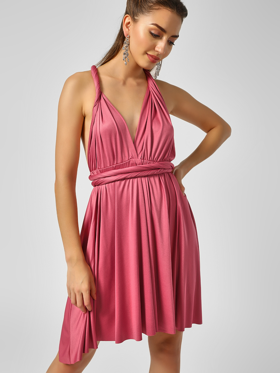 Origami Lily Blush pink Infinity Wrap Shift Dress 1