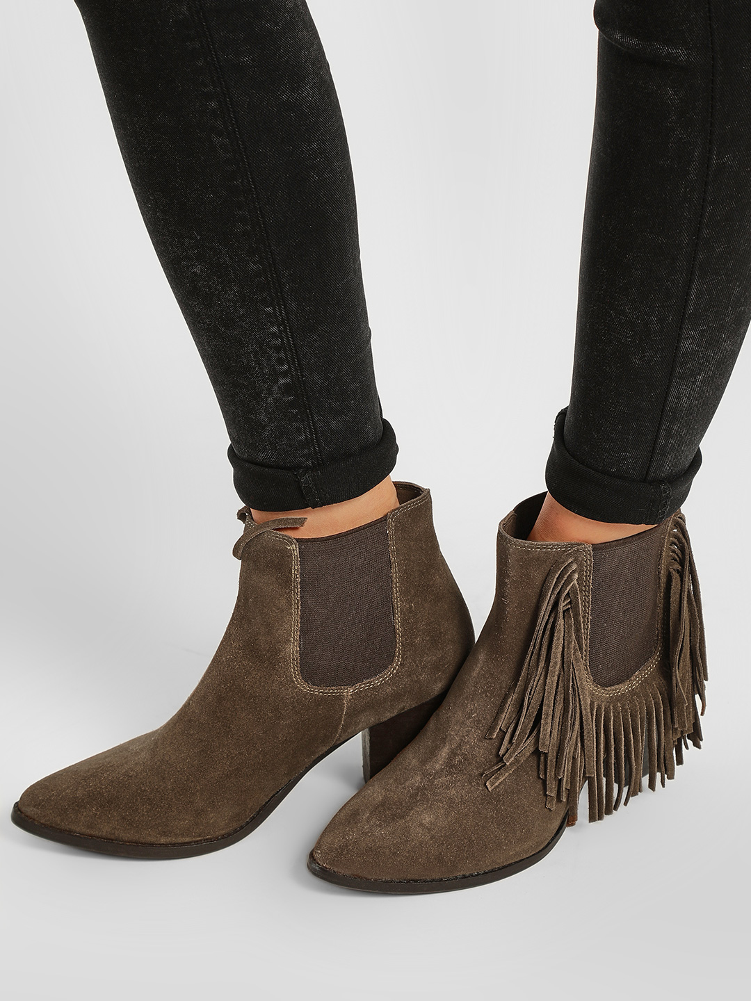 KOOVS Brown Frill Detail Heeled Suede Boots 1