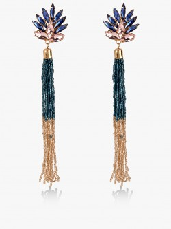 Blueberry Gem Embellished Beaded Tassel Earrings