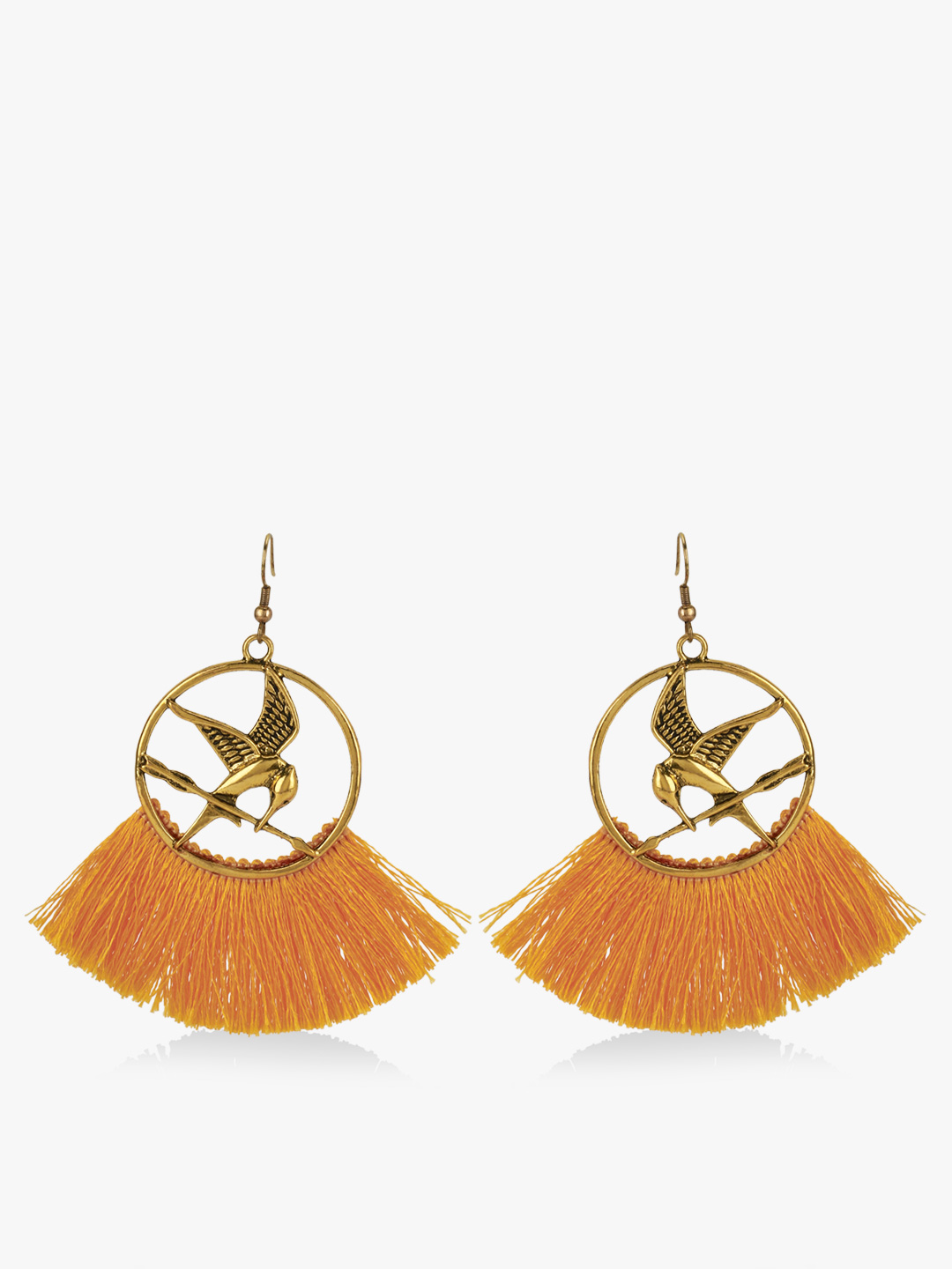 Blueberry Mustard Bird Tassel Earrings 1
