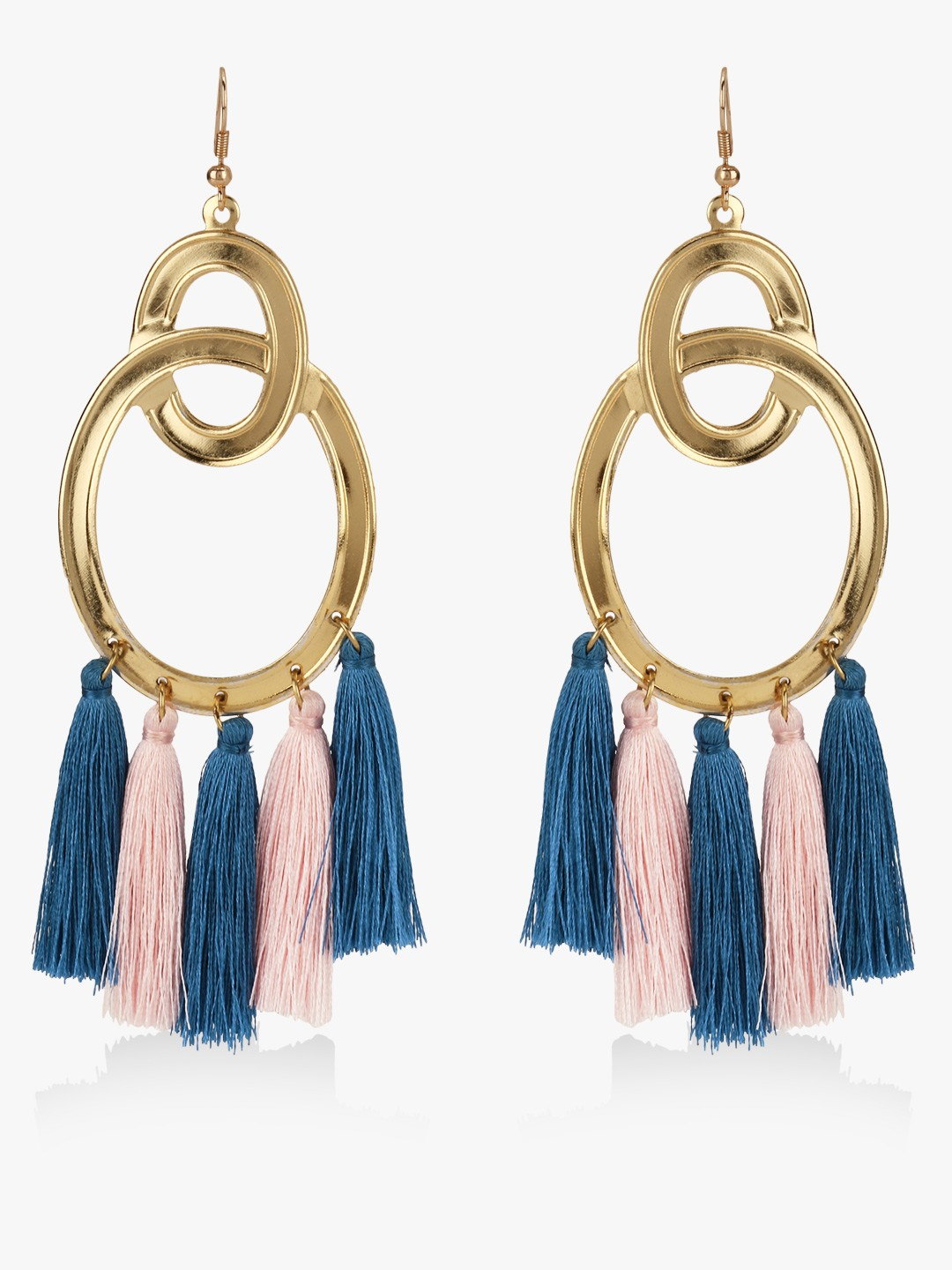 Blueberry Multi Tassel Drop Statement Earrings 1