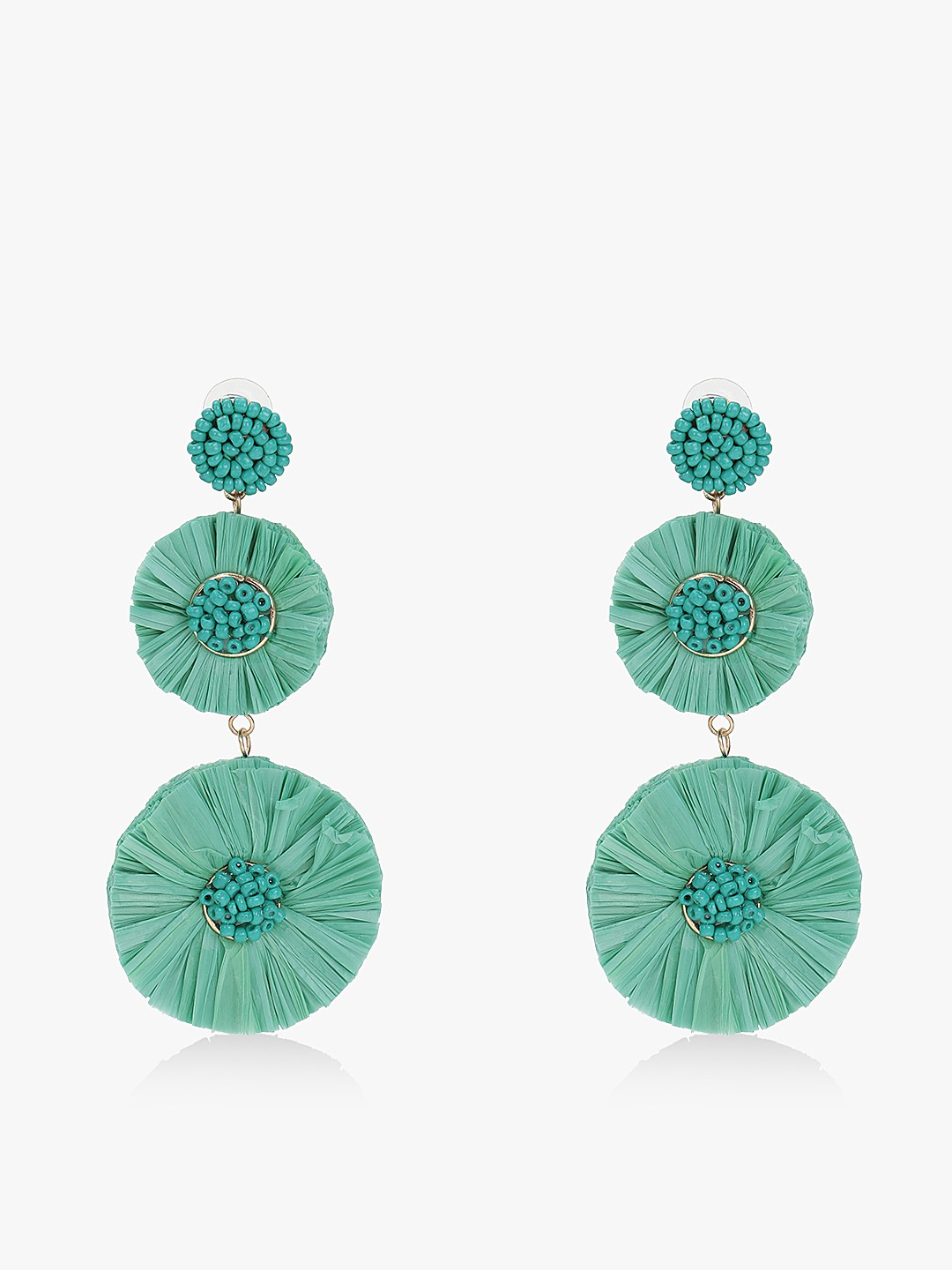 Blueberry Green Concentric Raffia Beaded Earrings 1
