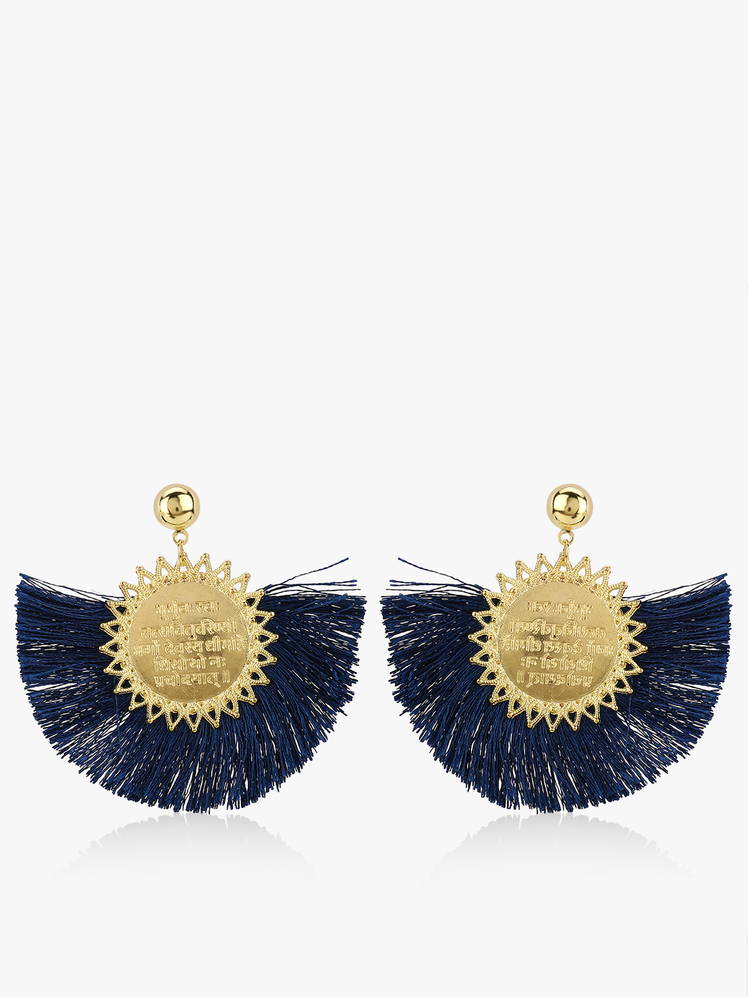 Blueberry Blue Concentric Tassel Earrings 1