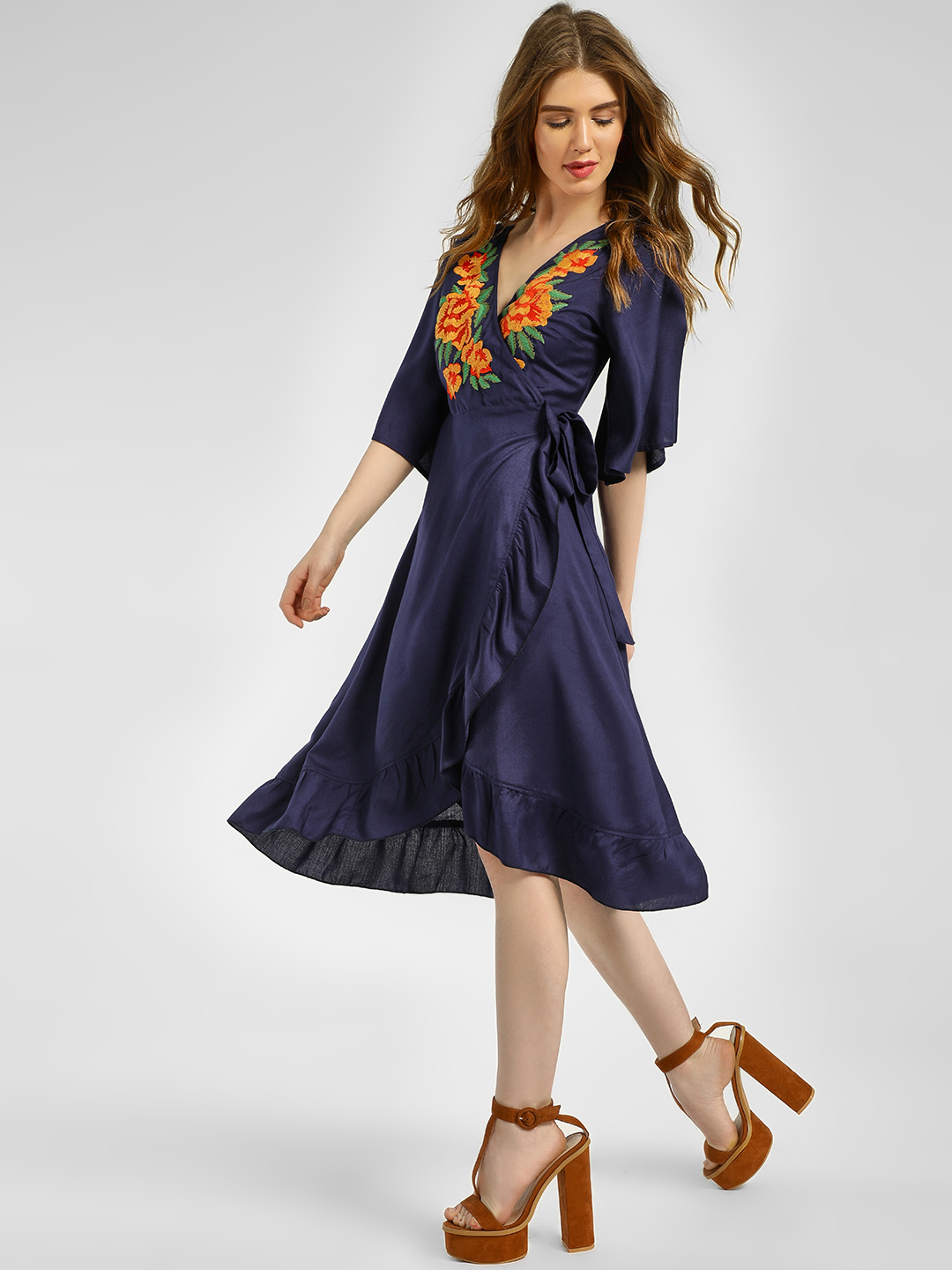 Rena Love Navy Embroidered Yoke Wrap Midi Dress 1