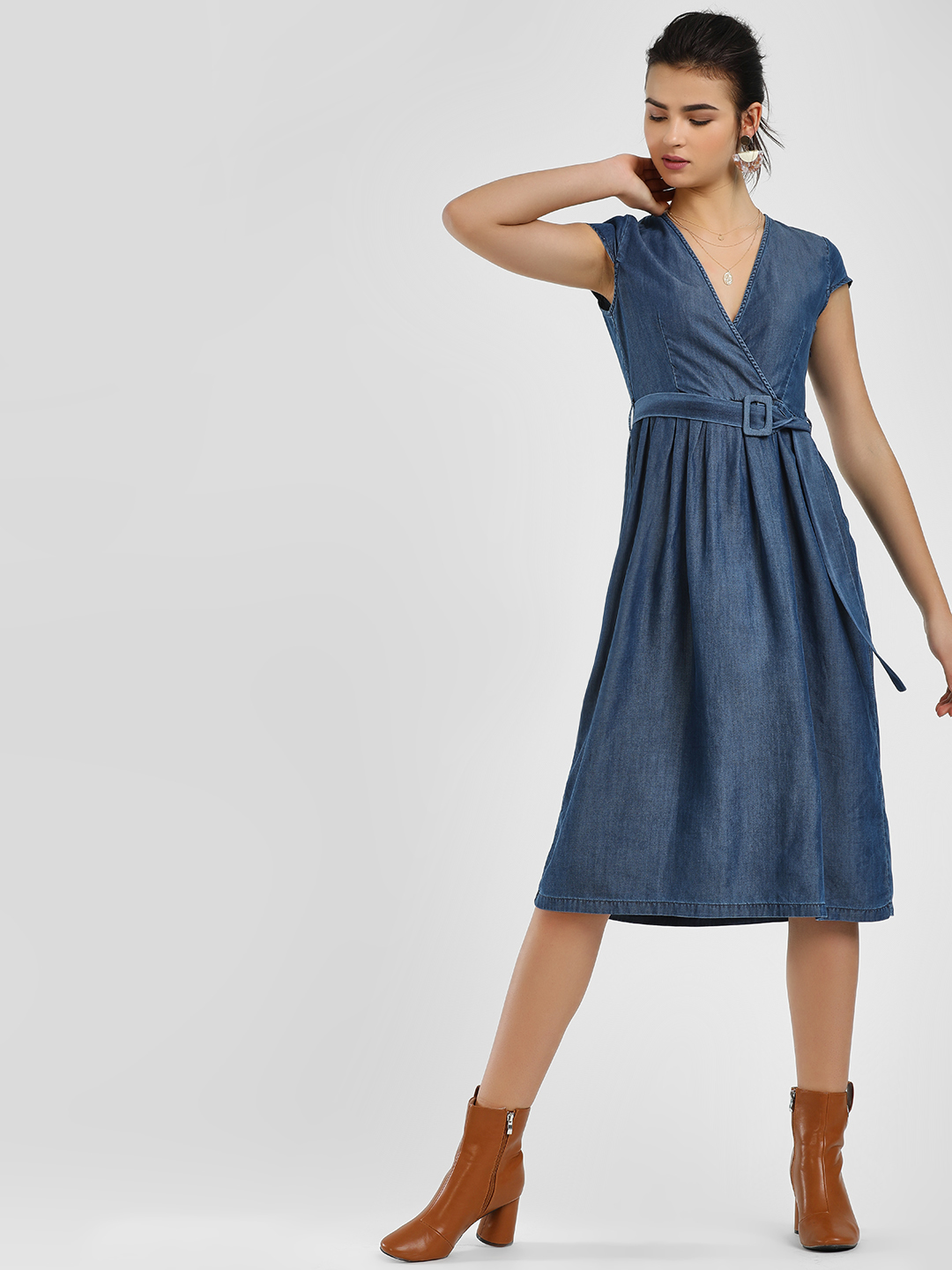 KOOVS Blue Belted Waist Midi Dress 1