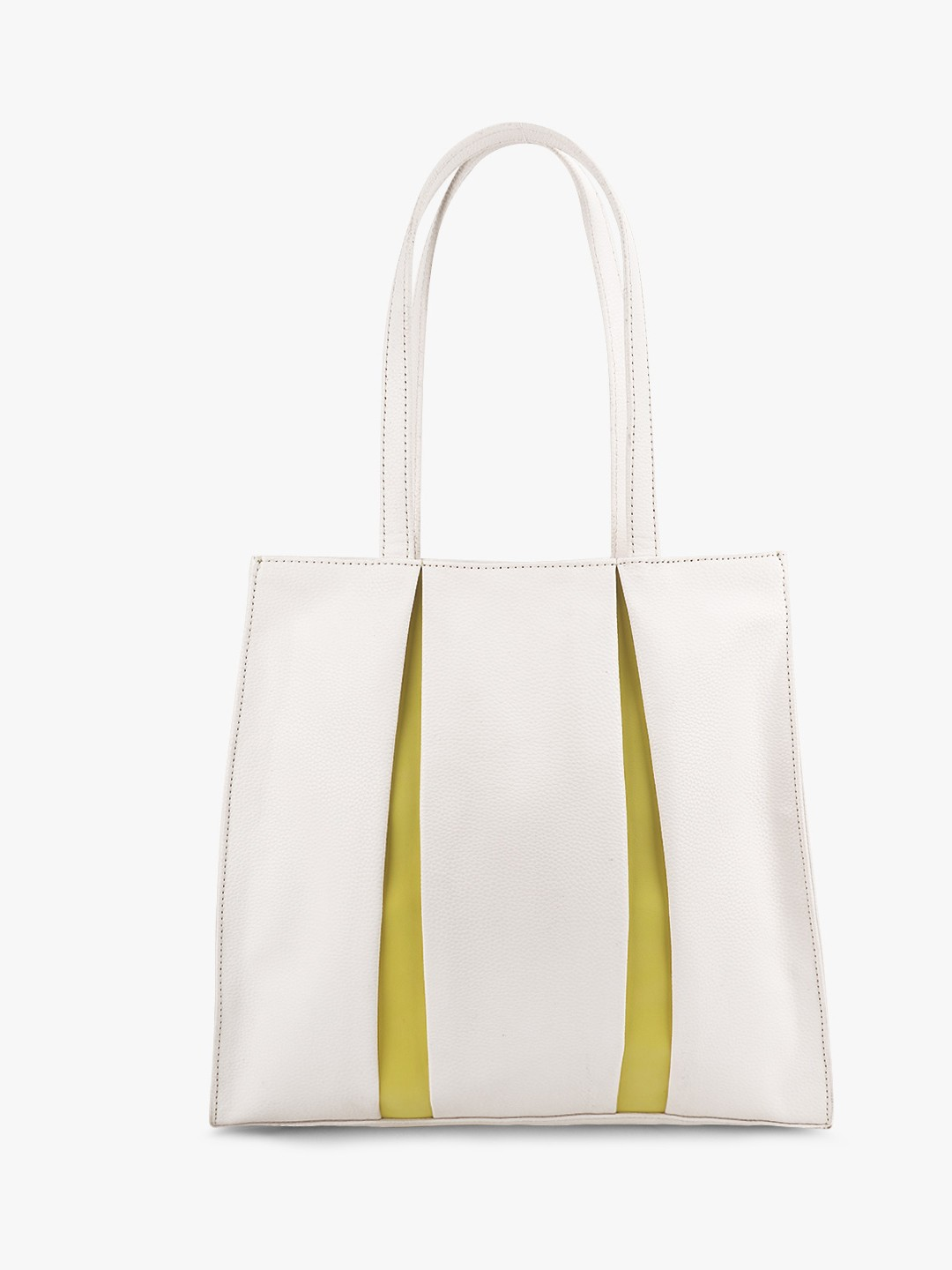 Paris Belle White Contrast Pleated Tote Bag 1