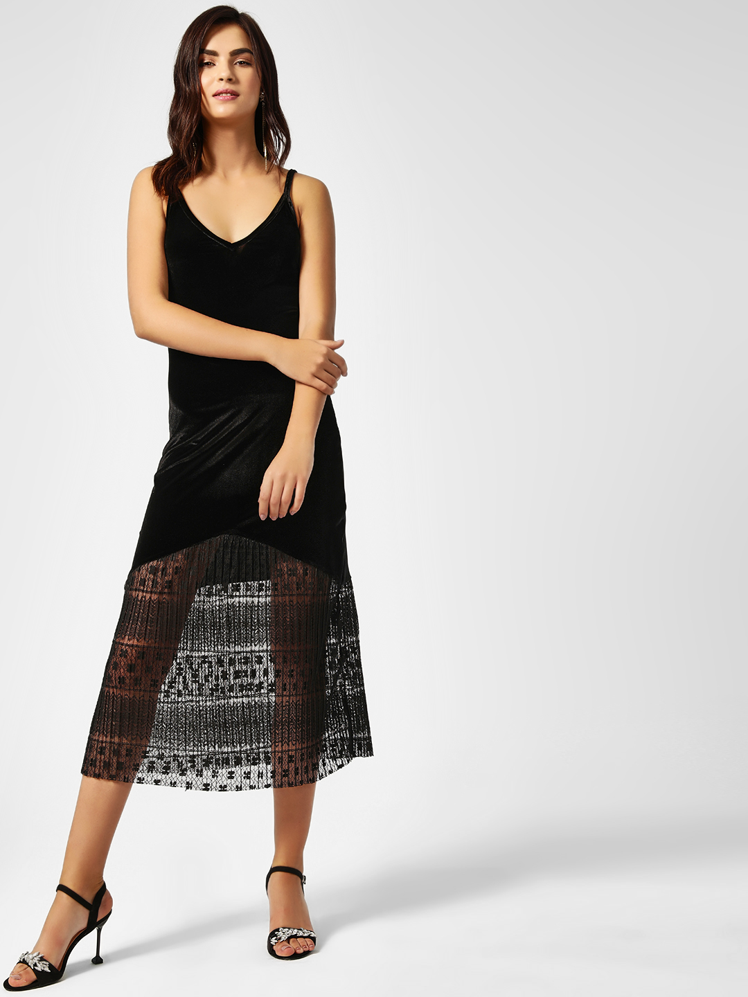All Good Things Black Lace Inserted  Velvet Maxi Dress 1
