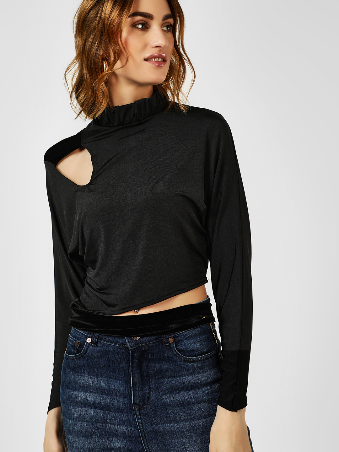 All Good Things Black Knot Crop Top With Cut Work 1