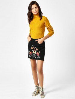 Brave Soul Floral Embroidered Denim Mini Skirt