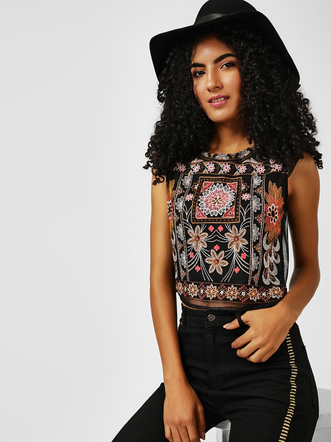 All Good Things Multi Embroidered Sleeveless Crop Top 1