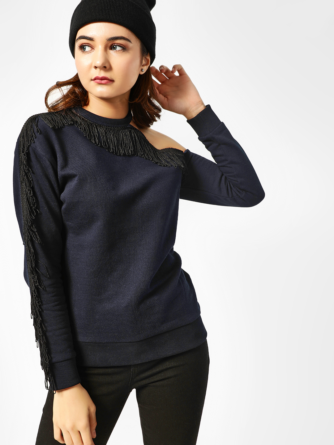 All Good Things Navy One-Shoulder Fringe Detail Sweatshirt 1