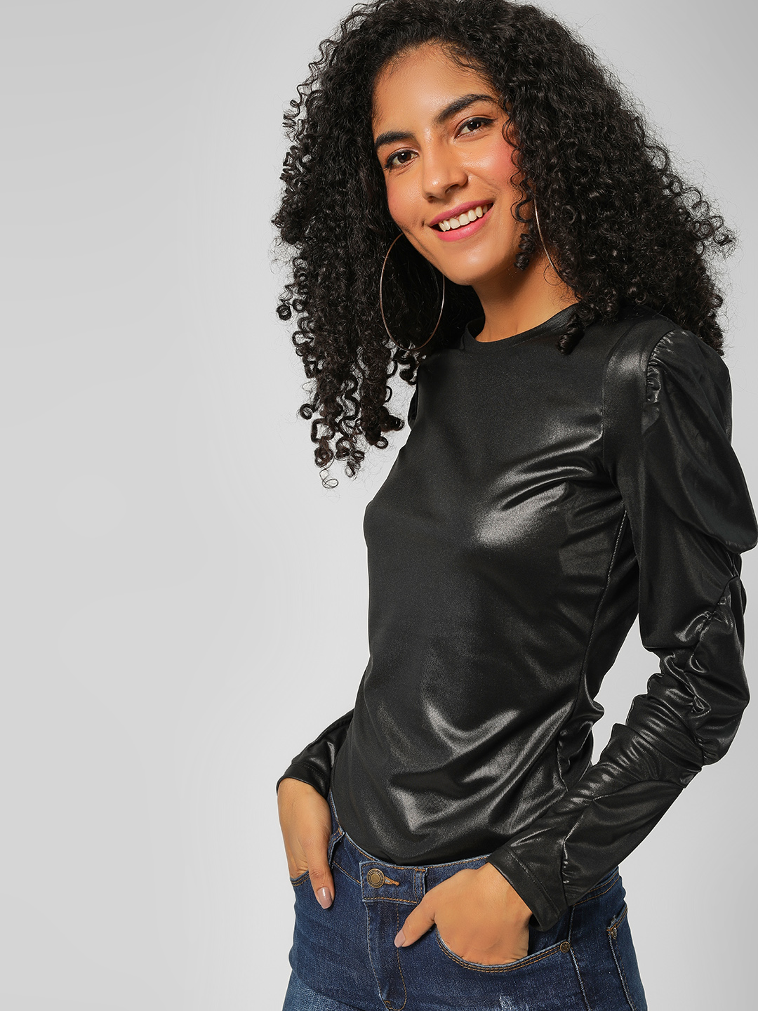 All Good Things Black PU Ruched Sleeve Sweatshirt 1