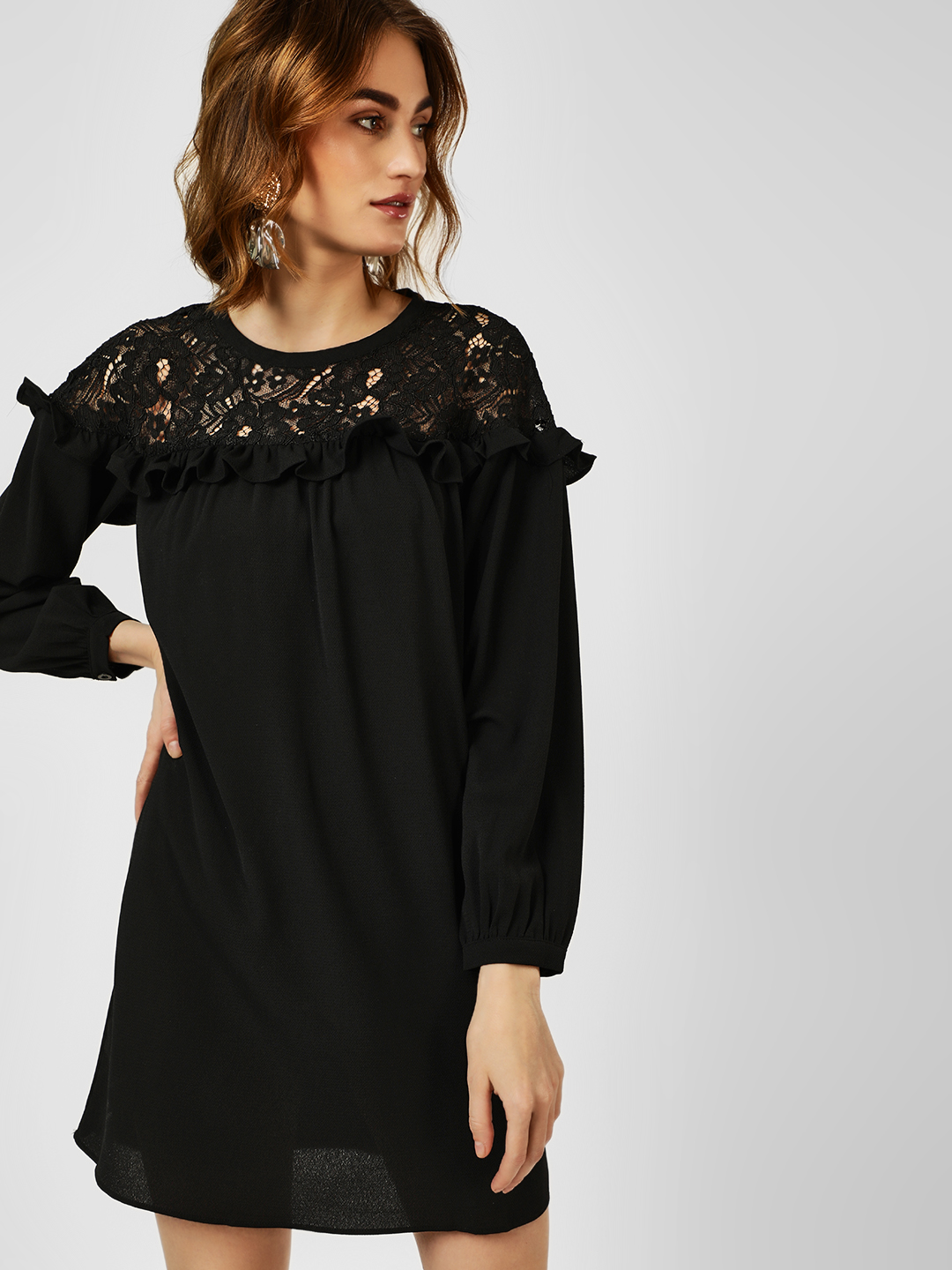 All Good Things Black Lace Insert Tunic Top 1