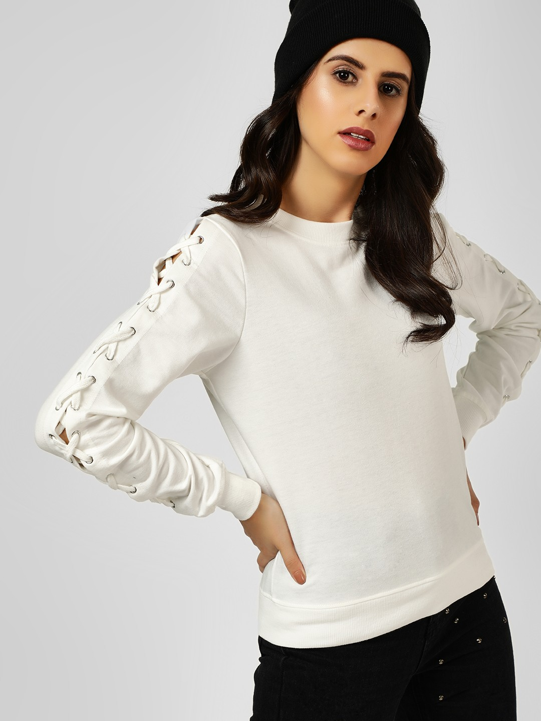 All Good Things White Lace-Up Sleeve Sweatshirt 1