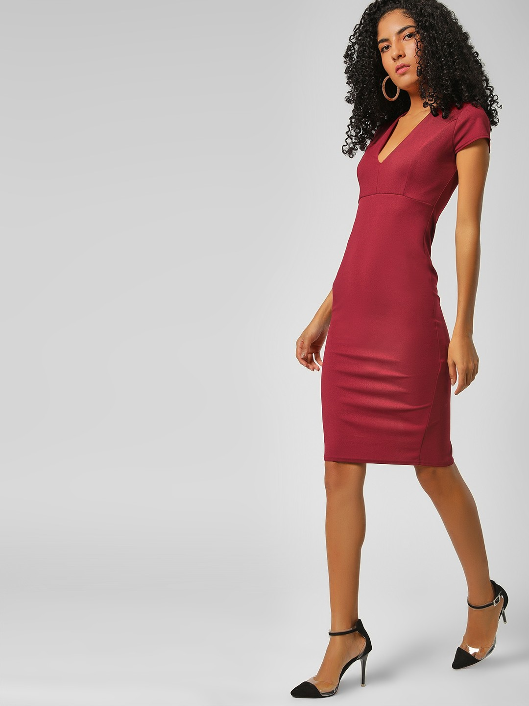 New Look Maroon V Neck Midi Dress 1