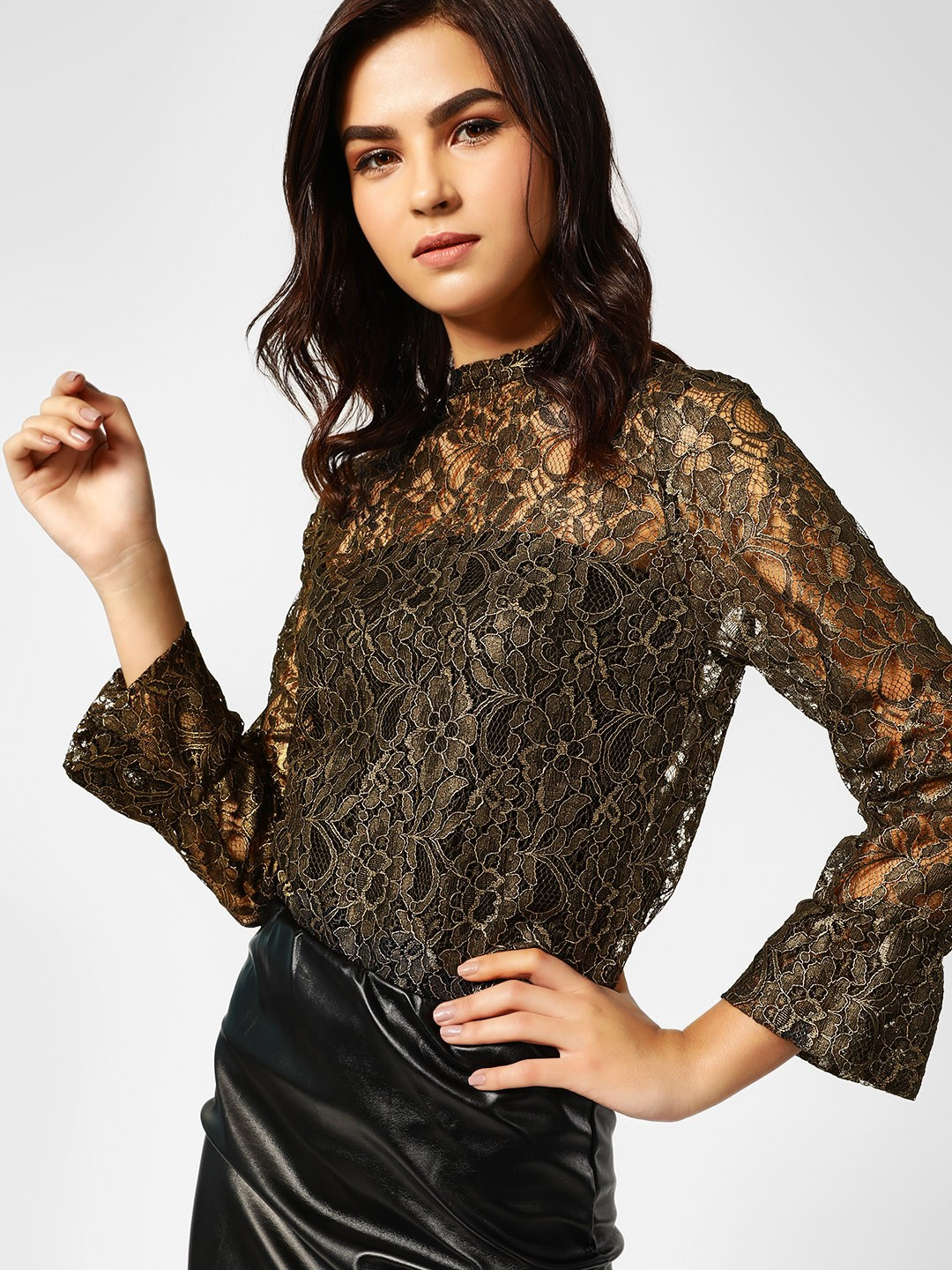 Peacocks Black/gold All Over Lace Detail Top 1