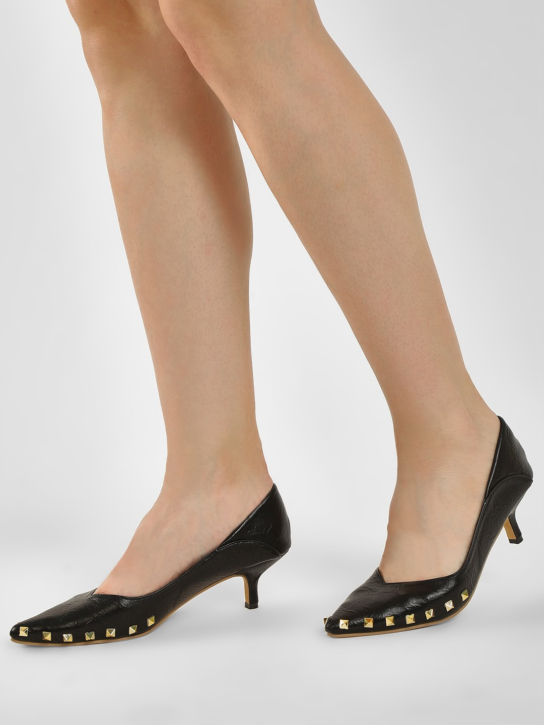 Sole Story Black Stud Embellished Heeled Pumps 1