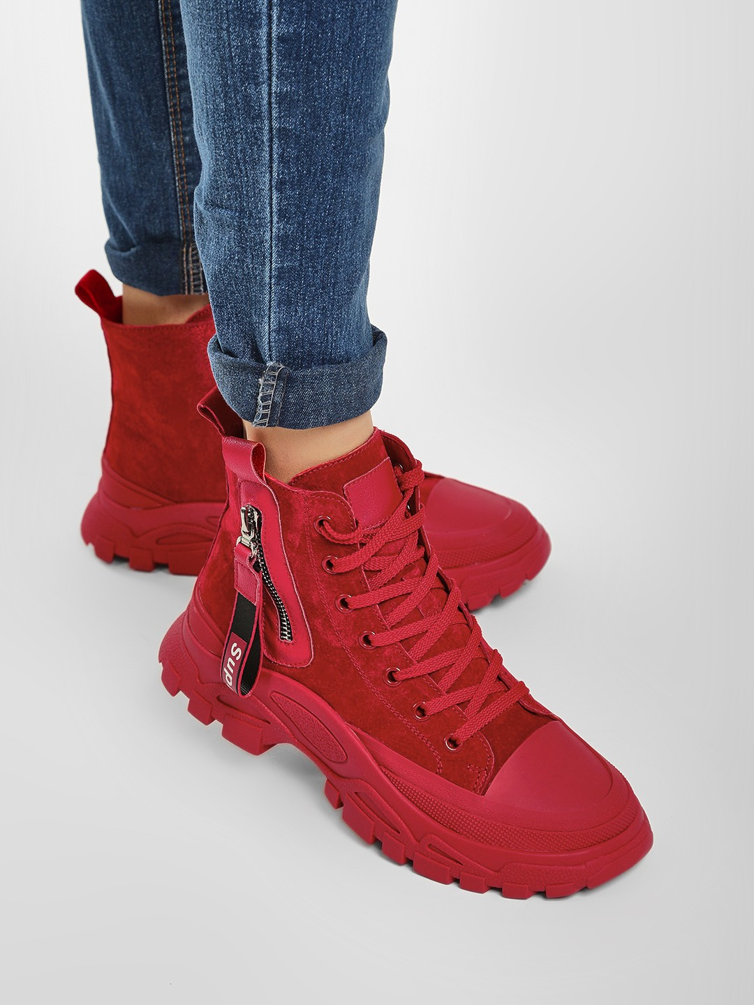 Sole Story Red Chunky Sole Hi-Top Shoes 1