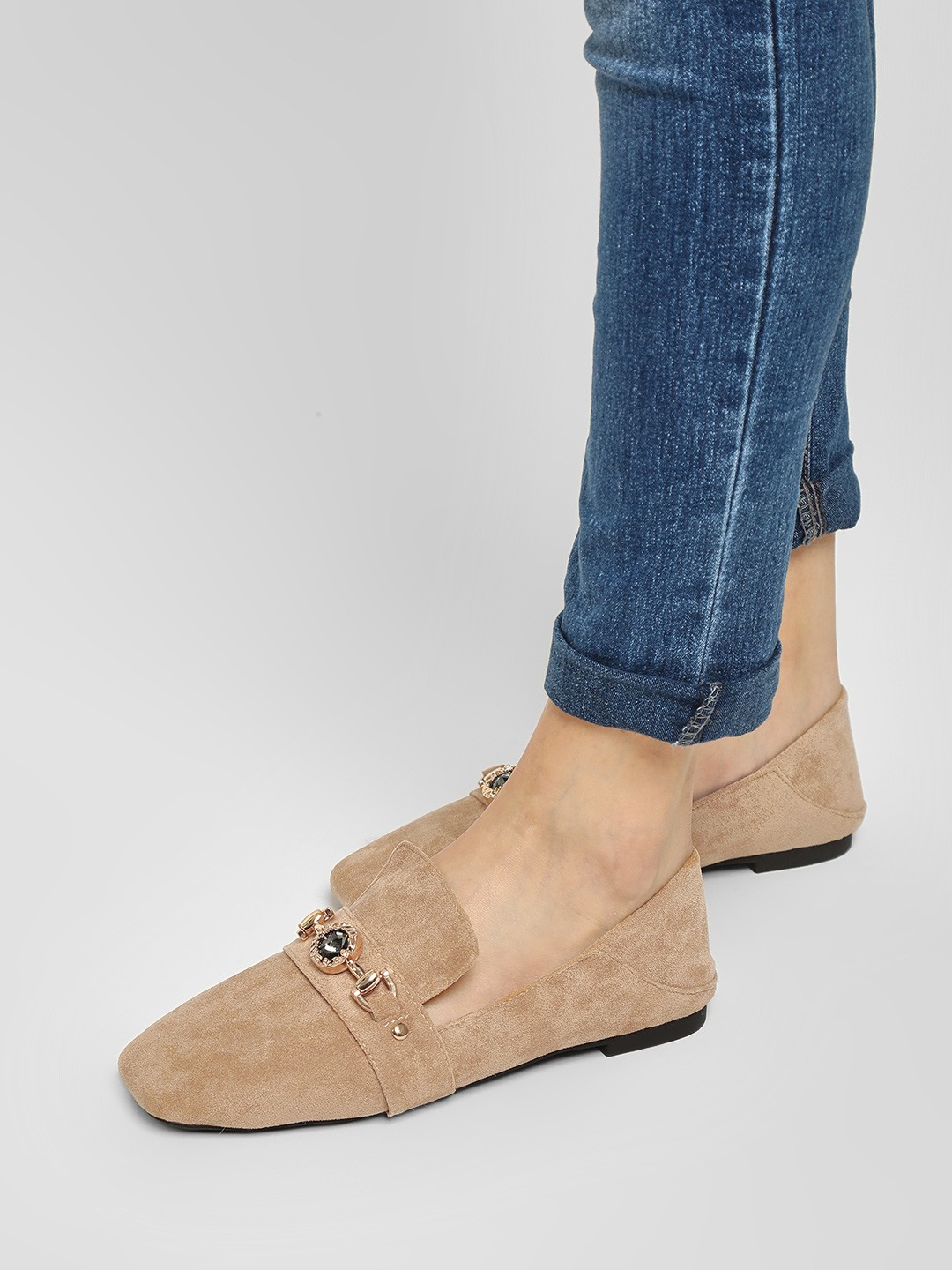 Sole Story Beige Embellished Strap Suede Finish Mules 1