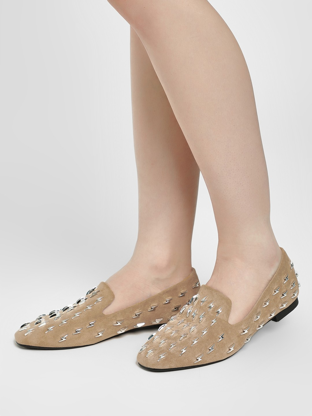Sole Story Tan Lightning Metal Studded Flat Shoes 1