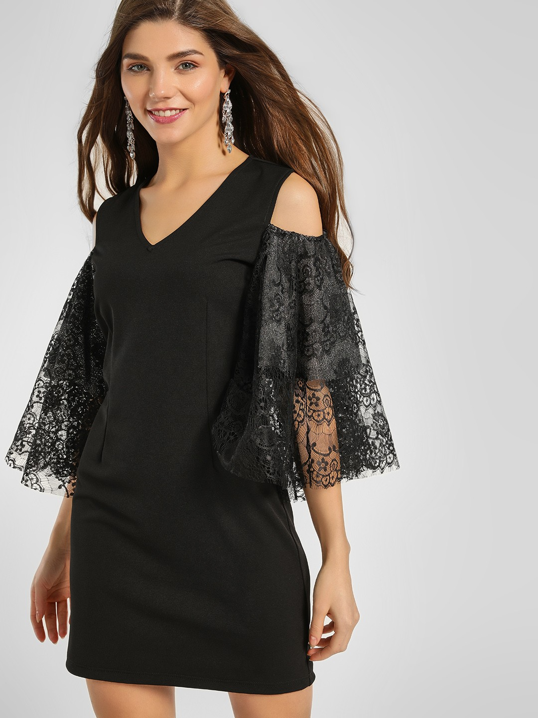 Ri-Dress Black Lace Flared Sleeve Shift Dress 1