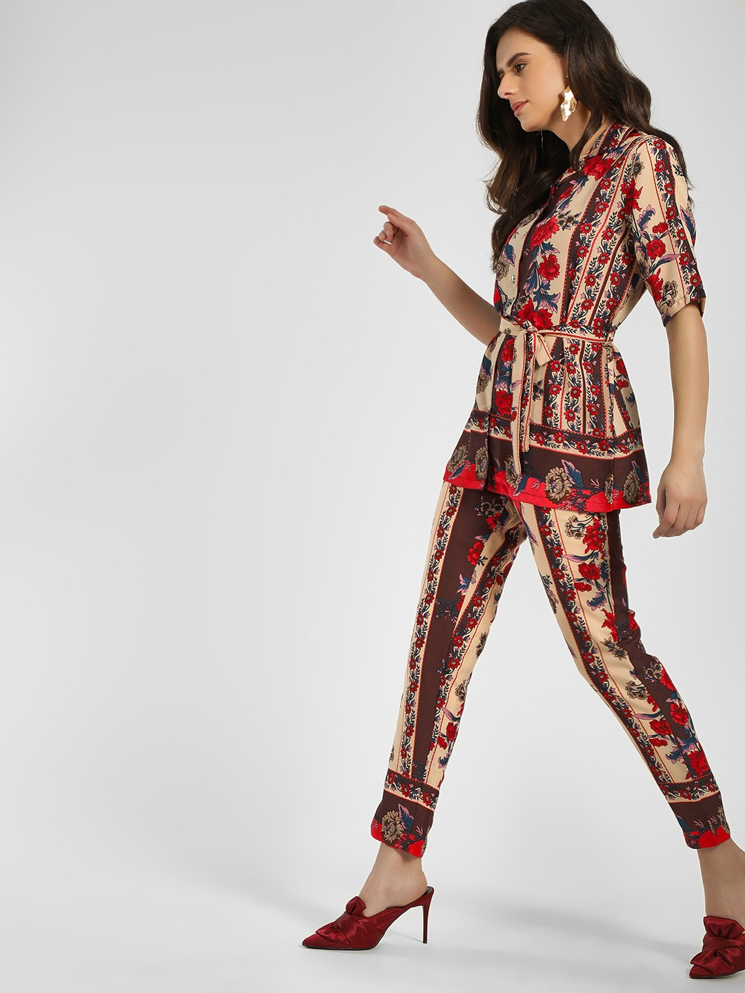 Closet Drama Multi Floral Print Slim Trousers 1