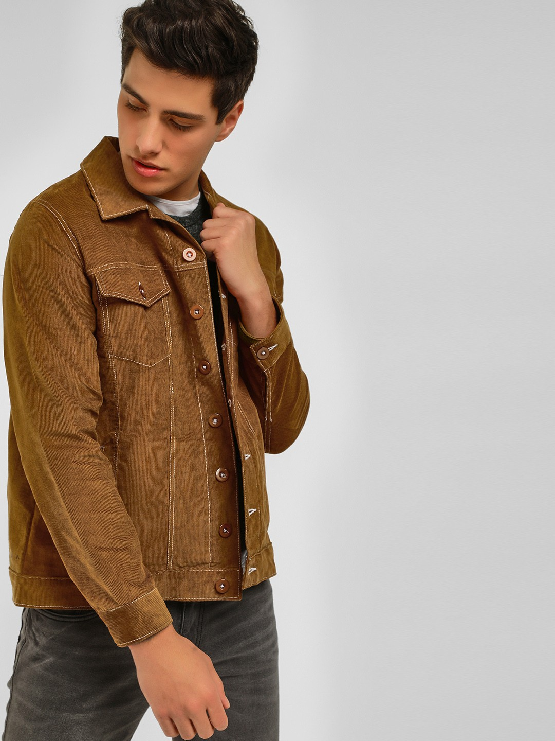 Spring Break Tan Corduroy Trucker Jacket 1