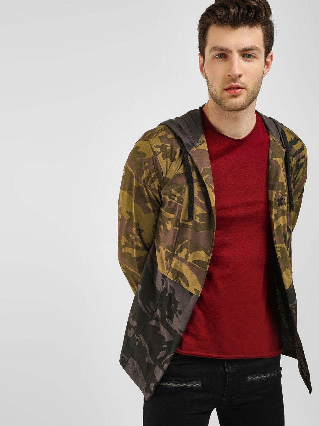 Kultprit Multi Camo Print Hooded Cardigan 1