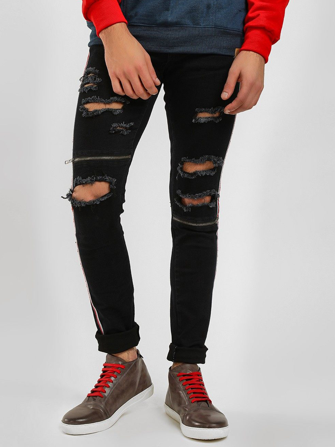 Kultprit Black Distressed Side Tape Skinny Jeans 1