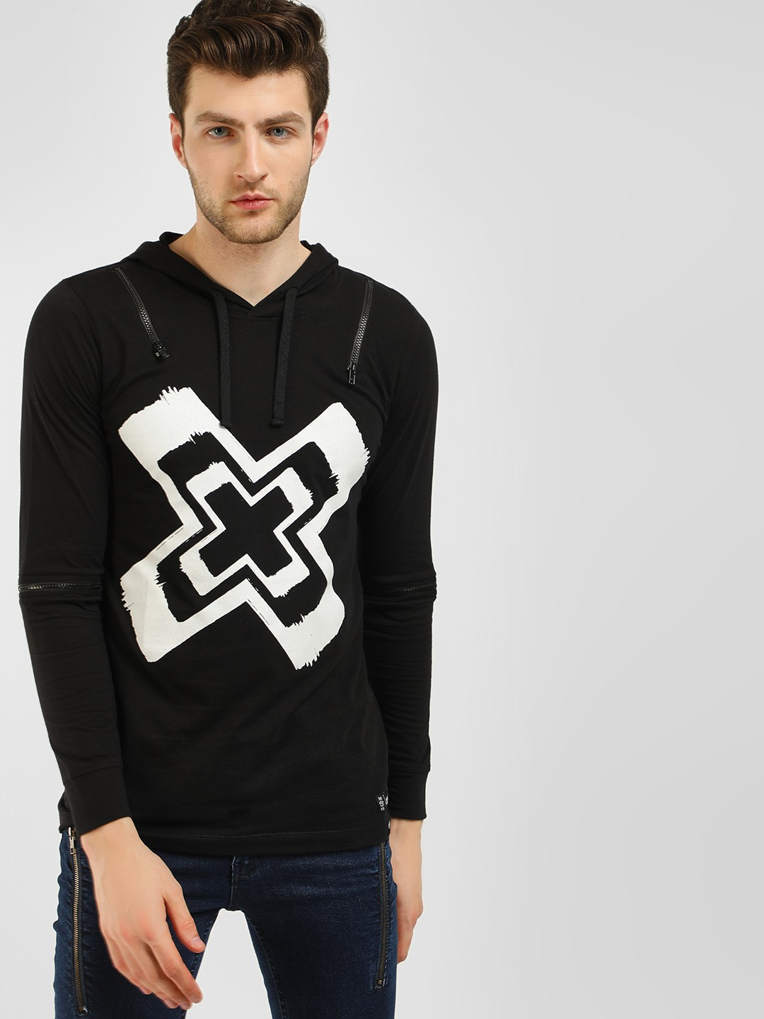 Kultprit Black Long Sleeve Hooded T-Shirt 1