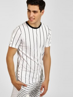 Kultprit Striped Snap Button T-Shirt