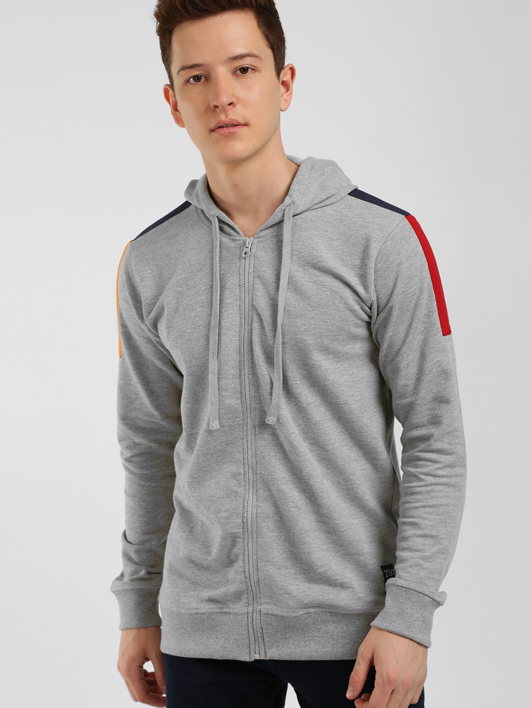 Kultprit Grey Contrast Side Tape Slim Fit Hoodie 1