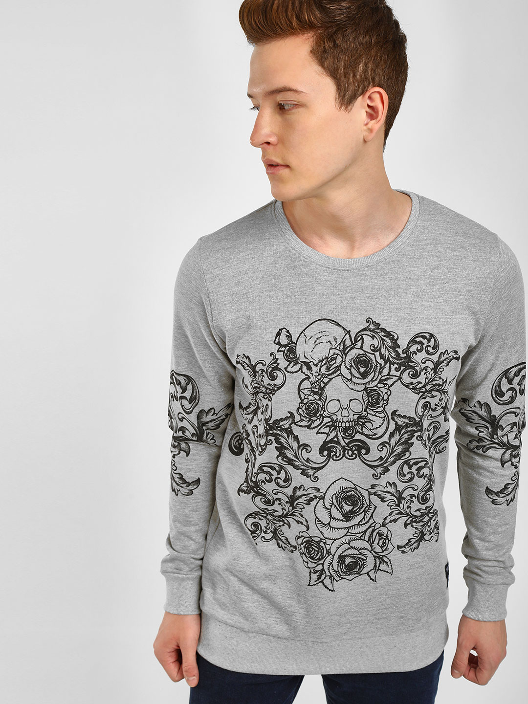 Kultprit Grey Rose And Skull Print Sweatshirt 1