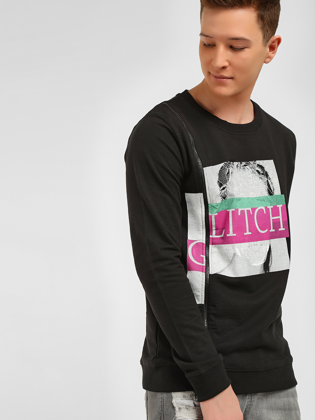 Kultprit Black Graphic Print Sweatshirt 1