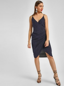 KOOVS V-Neck Striped Midi Dress