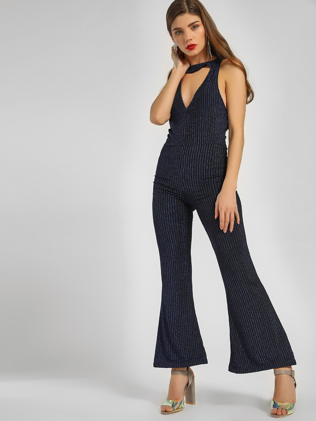 KOOVS Blue All Over Glitter Halter Jumpsuit 1