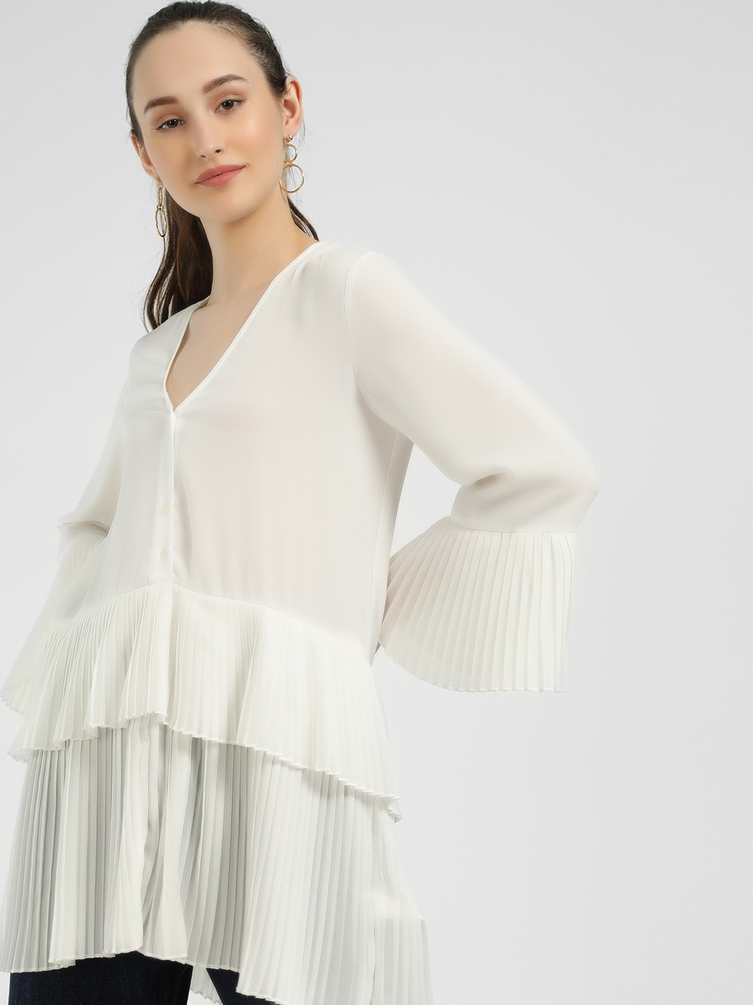 KOOVS Ivory Tiered High-Low Top 1